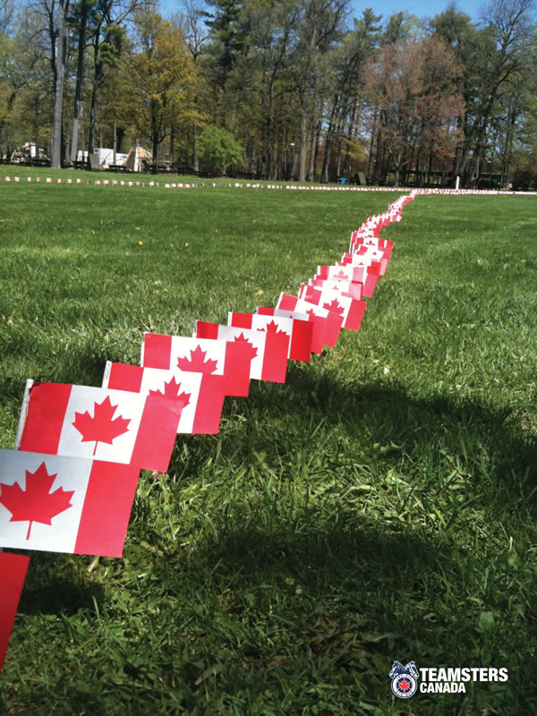 A photo of the National Day of Mourning in memory of workers died or injured on the job taken at Massey Hall Park in Ottawa. The flags represent the number of dead workers that died on the job or at work.