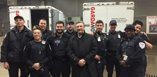 François Laporte, the President of Teamsters Canada, visiting Garda armoured car workers in Edmonton.