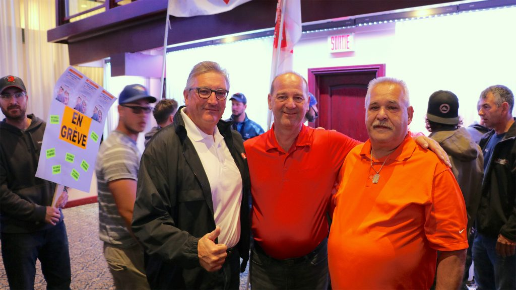 From left to right: Teamsters Canada President François Laporte, FTQ-Construction Director General Yves Ouellet, Teamsters-AMI and FTQ-Construction President Rénald Grondin