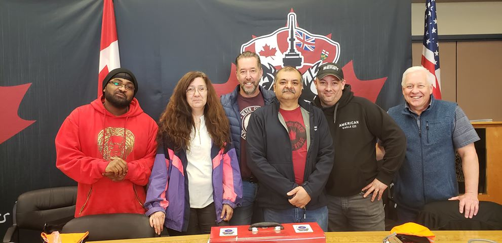 The union bargaining committee at Novacold Logistics in Ontario.