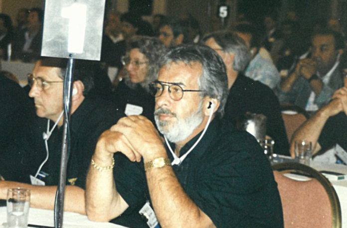 Lionel Dorais, right, at the Teamsters Canada Convention in the '90s.